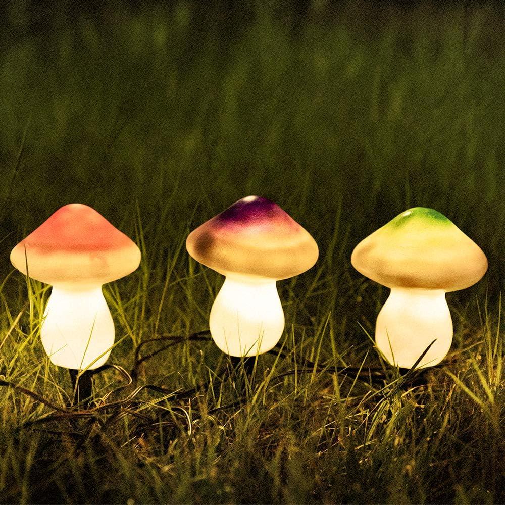 Solar Mushroom Light, Solar Powered Decorative Outdoor Garden Light (Multi-Colored)
