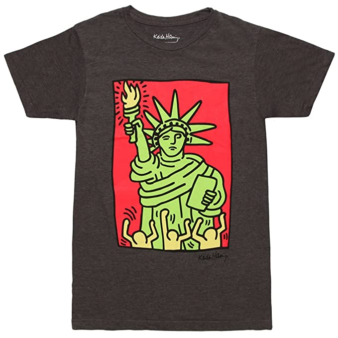 68b30c45 Amazon.com: Keith Haring Statue of Liberty Adult T-Shirt - Charcoal  (XXX-Large): Clothing