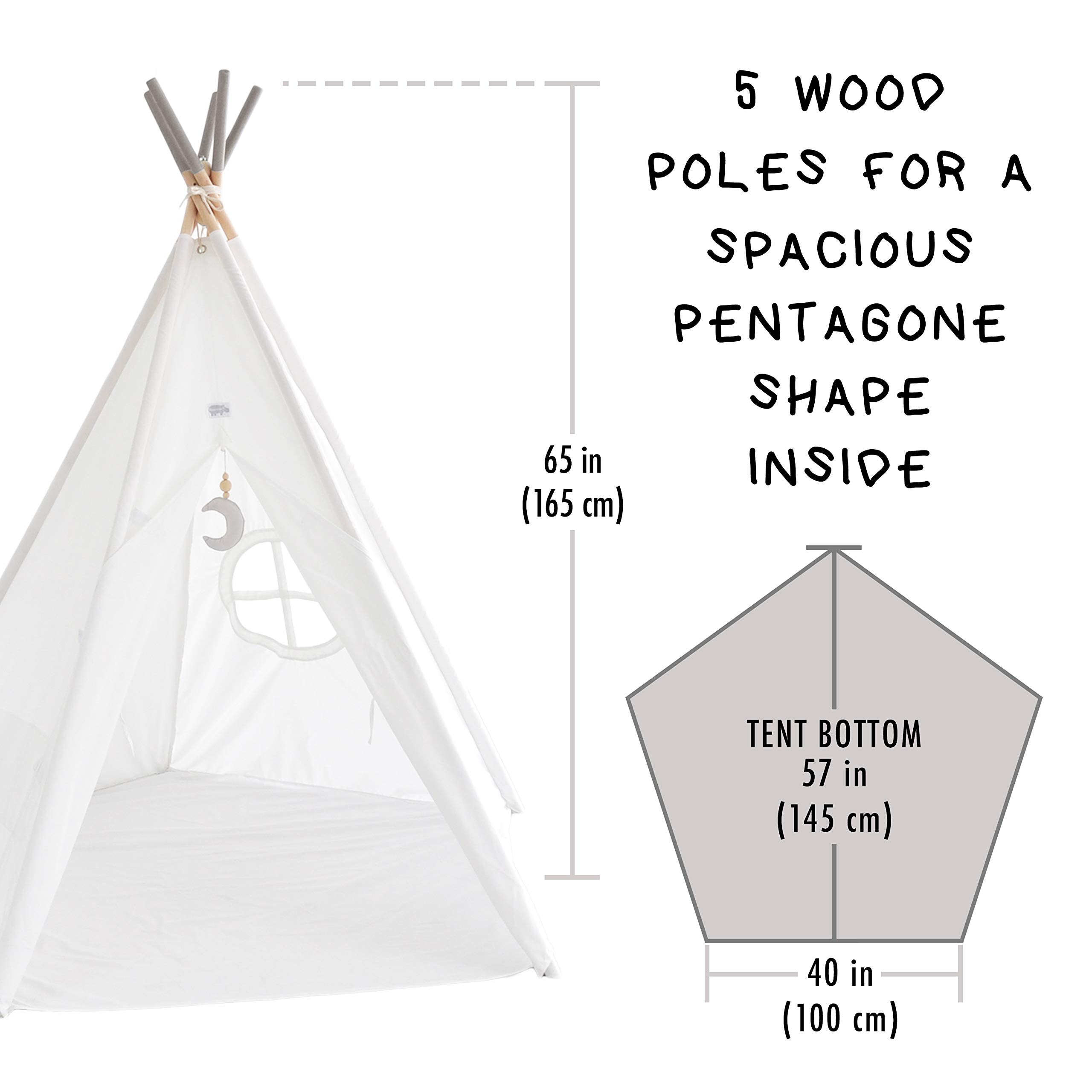 Hippococo Teepee Tent for Kids: Large Sturdy Quality 5 Poles Play House Foldable Indoor Outdoor Tipi Tents, True White Canvas, Floor Mat, Grey Moon Accessory, Family Fun Crafts eBook Included (Grey) by Hippococo (Image #5)