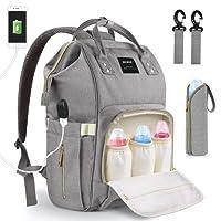 Baby Wickeltasche Wickelrucksack, MoFut Babytasche Multifunktional Wasserdicht Reise Rucksäcke mit USB-Lade Port Isolierte Tasche für Unterwegs, Große Kapazität Grau