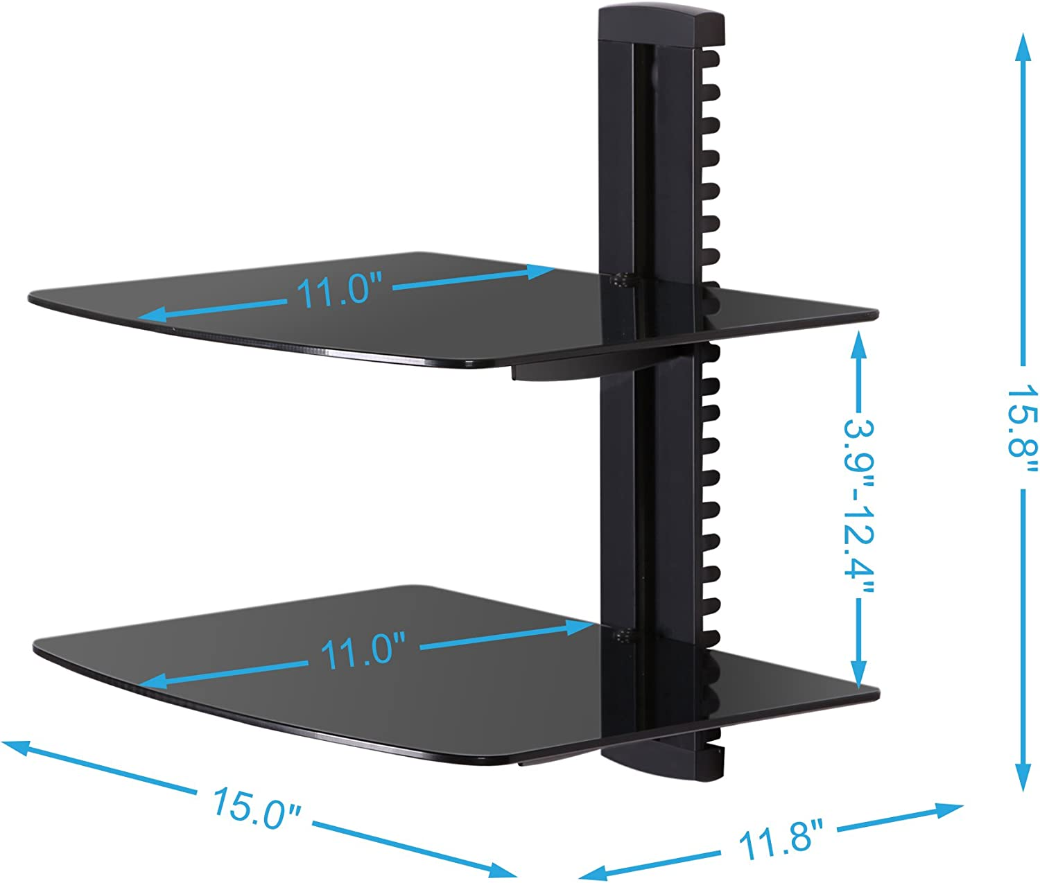 Fenge 2 Tiers Av Shelf Wall Mount Shelf Black Bracket Stand for AV Receiver Component Xbox Cable Boxes Gaming Systems