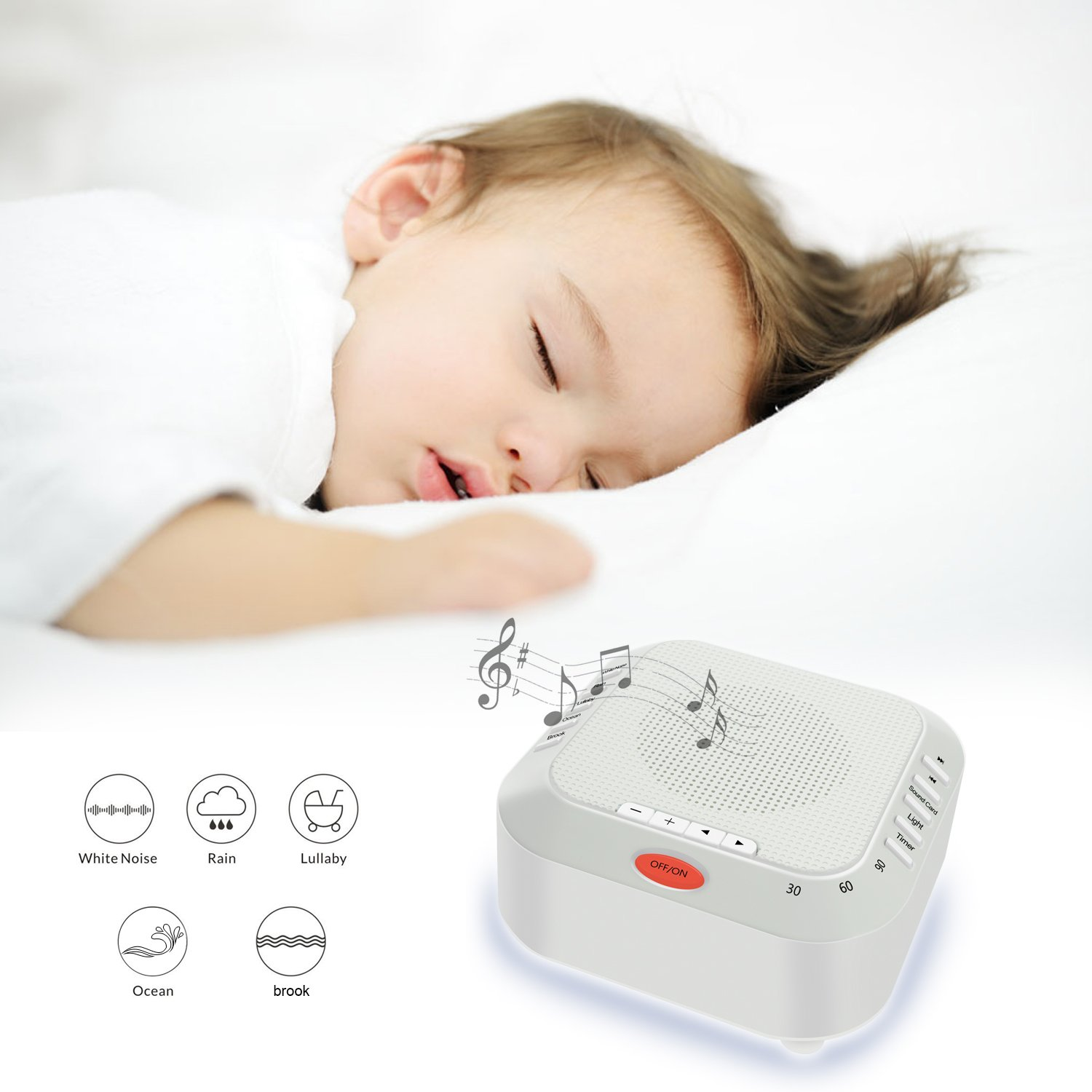 White Noise Machine, High Fidelity Natural Sounds for Baby and Adults, Rechargeable Sound Therapy Machine with Nightlight, TF Card and Adjustable Volume for Travel, Yoga, Home and Office