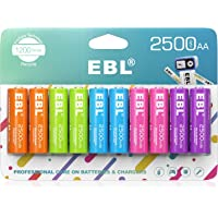 EBL Rechargeable AA Batteries 2500mAh 1.2V Pre-Charged Ni-MH Double AA Battery Color 1200 Cycles Long Lasting, 10 Pack