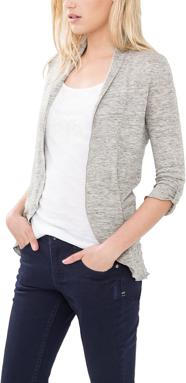 Comma CI Damen T-Shirt 3/4 ARM Strickjacke, Grau (Grey