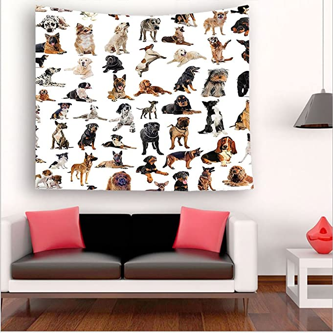 Nalahome- Collection Picture with Purebred Dogs Australian Sheepdog Belgian Boxer Italian Mastiff Brown Black tapestry psychedelic wall art tapestry hanging 35.4W x 35.4L Inches 43.3W x 43.3L Inches
