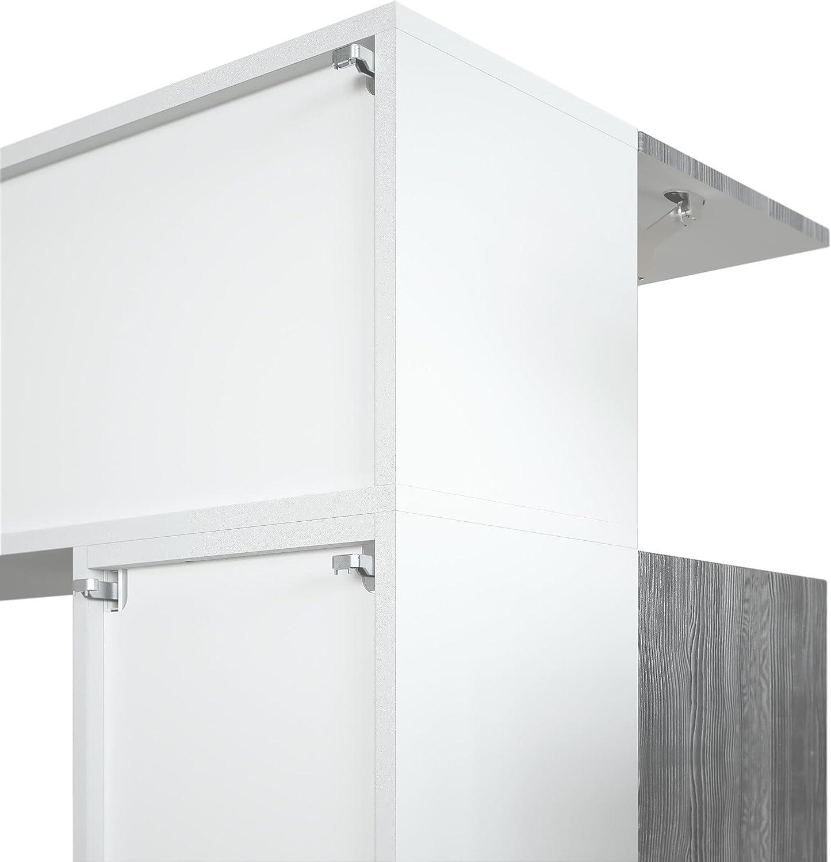 Mueble de Pared Taurito, Cuerpo en Blanco Mate/frentes en Blanco de Alto Brillo y con Apariencia de óxido de hormigón: Vladon: Amazon.es: Hogar