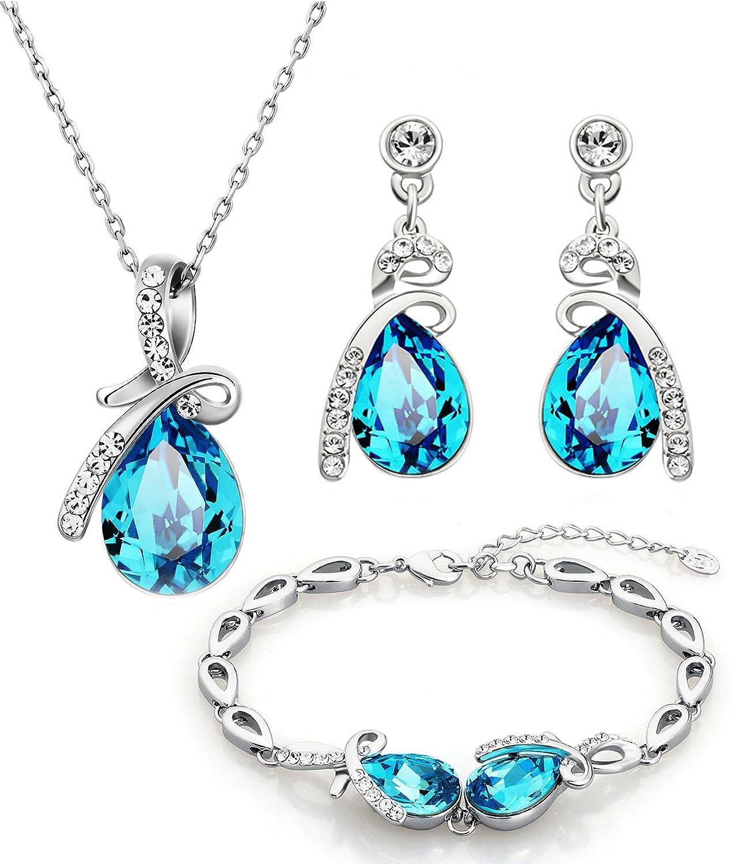 NEOGLORY Conjunto Collar Pulsera Pendientes con Cristales SWAROVSKI AZUL Joya Original Regalo