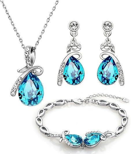 416d5a7f734b NEOGLORY Conjunto Collar Pulsera Pendientes con Cristales SWAROVSKI AZUL  Joya Original Regalo Mujer Chica