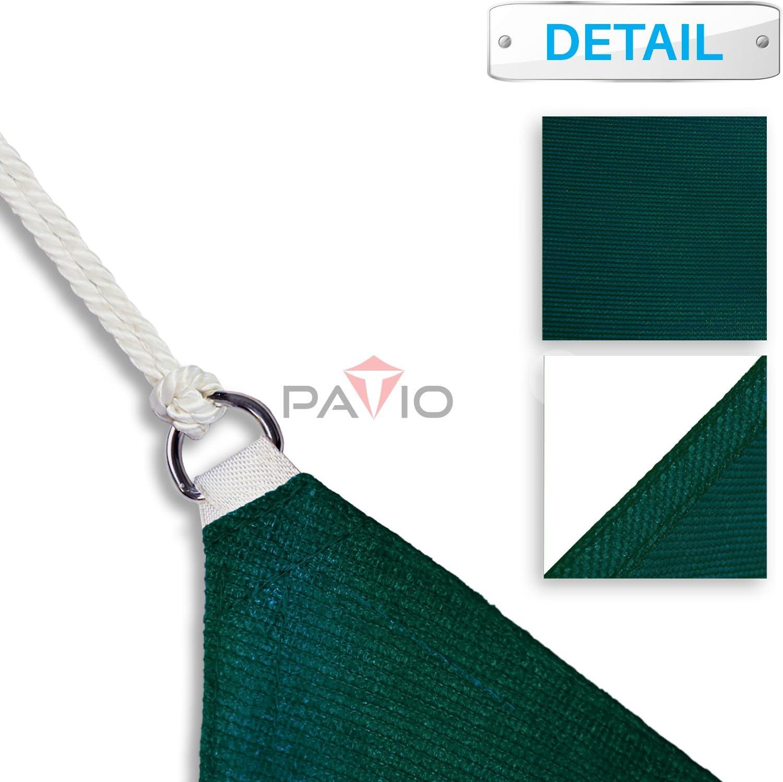Permeable UV Block Fabric Durable Patio Outdoor Patio Paradise 16x16 Dark Green Sun Shade Sail Square Canopy