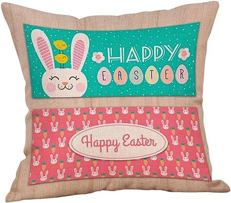 squarex algodón cuadrado de Pascua Conejo manta funda de almohada cintura cojín decoración del hogar N Talla:Size:45*45cm: Amazon.es: Bebé