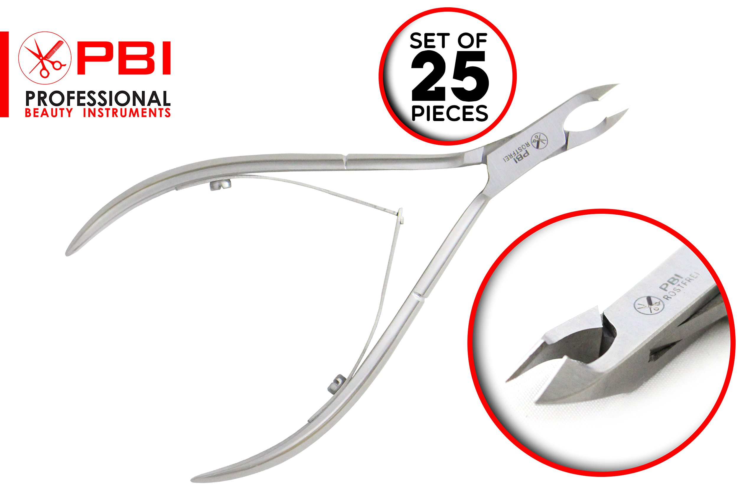 Cuticle nipper - cuticle cutter - cuticle plier - manicure pedicure cuticle nipper - double spring nipper - 11.8 cm - 25 pieces set - Stainless Steel from PBI by PBI professional beauty instruments (Image #1)