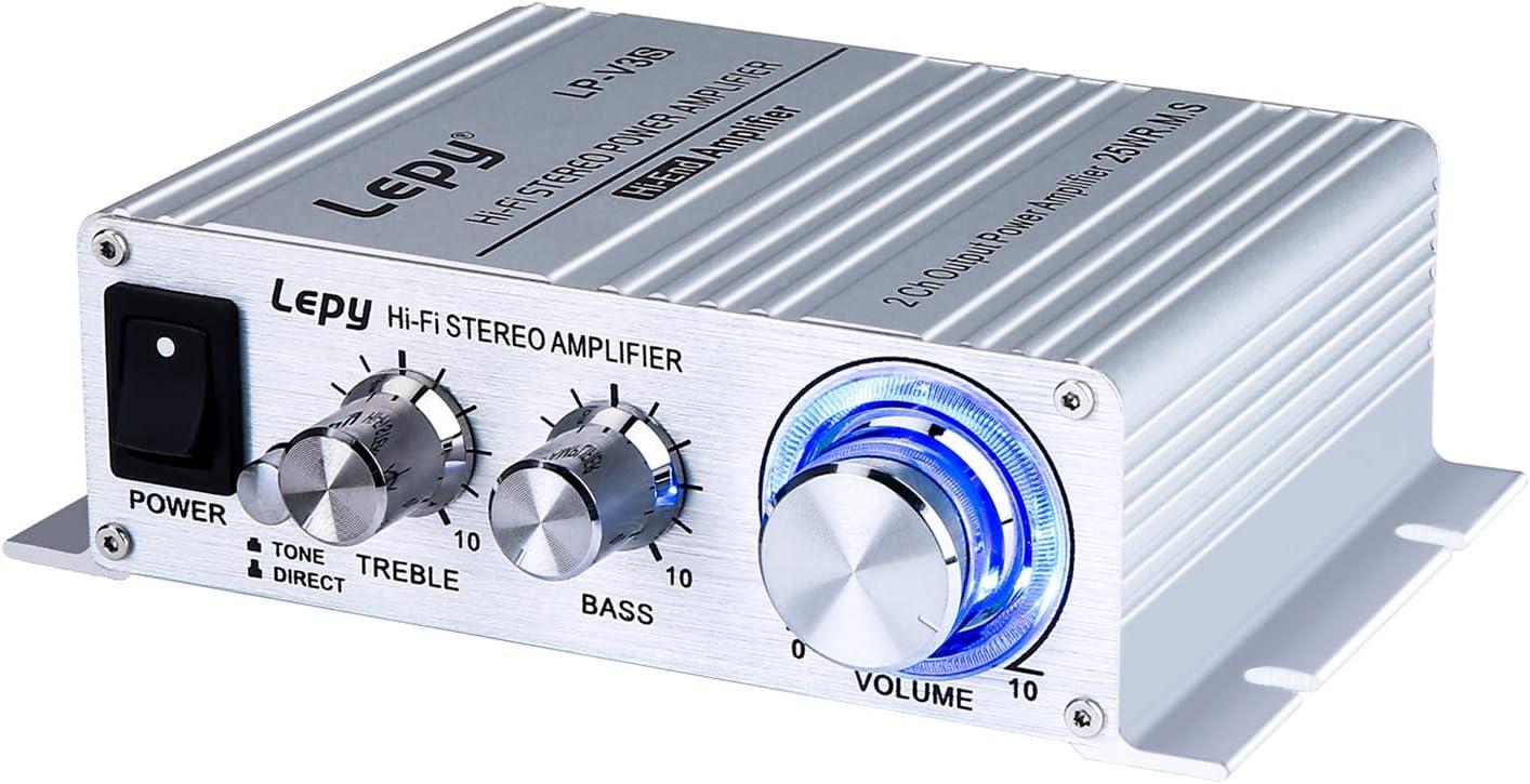 FisherMo Mini Amplifier, Home Audio Stereo Bass Music Streaming Digital Class D Hi-Fi Power Amp for Bookshelf Speaker PC TV Cell Phone Car Vehicle