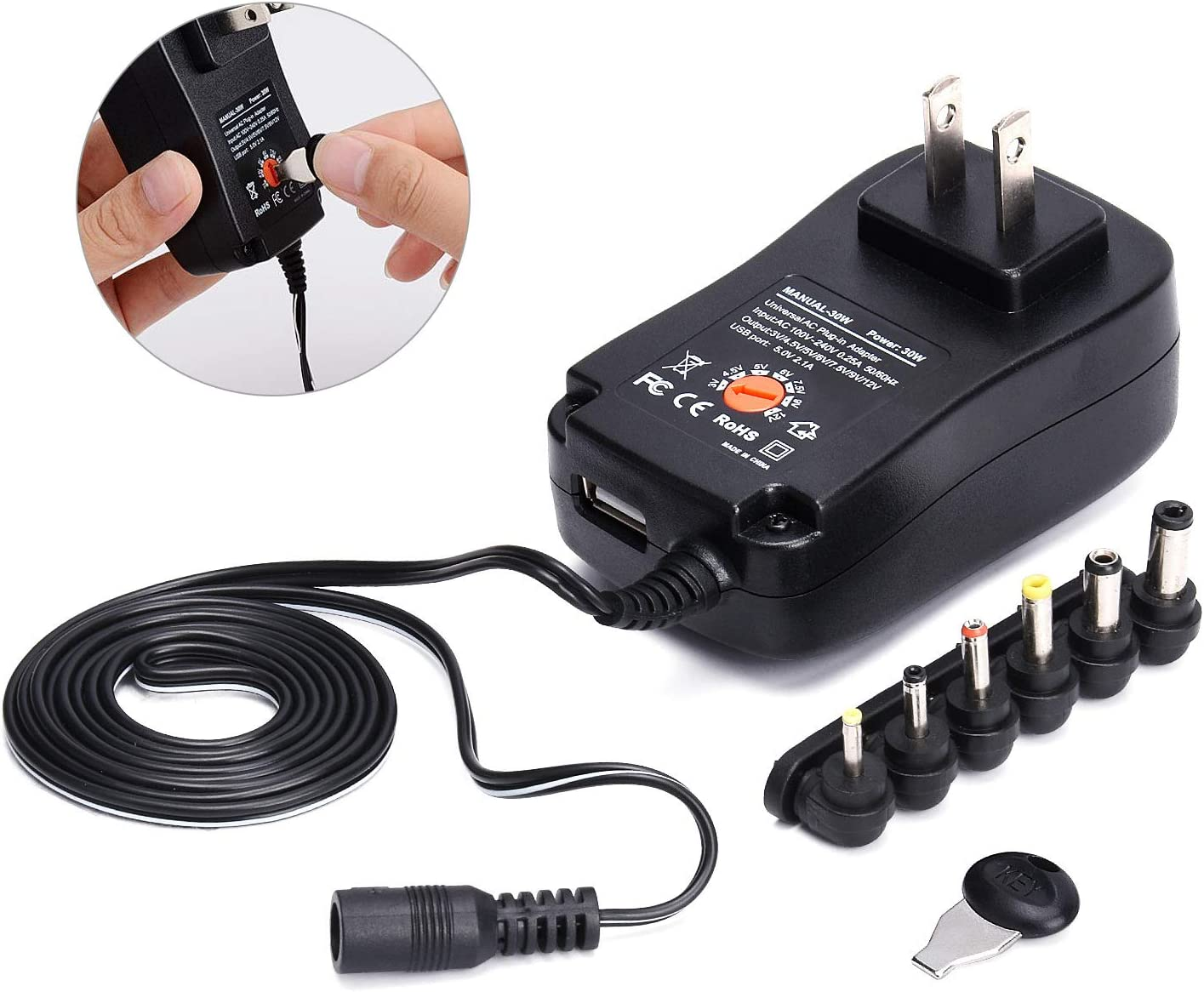 3-12V Adjustable Power Adapter 30W DC Plug-in Charger w// USB Port