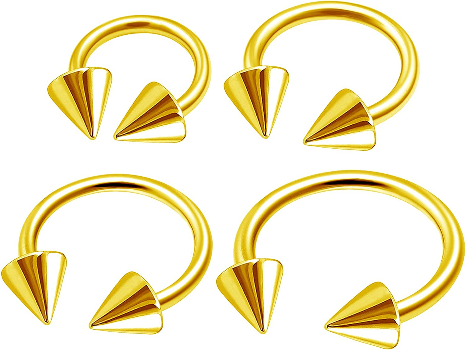 MATIGA 4Pcs Anodized Surgical Steel 16g 6mm 8mm 10mm 12mm Horseshoe Barbell Earrings Piercing Jewelry Tragus 4mm Cone More Choices
