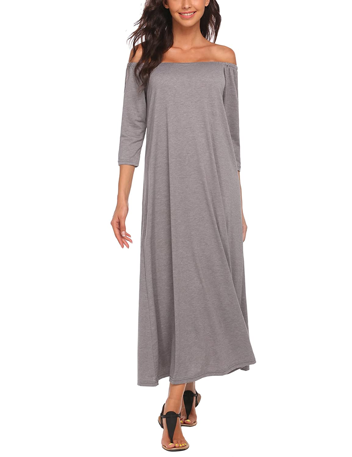 ACEVOG Women 3/4 Sleeve Slash Neck Off The Shoulder Solid Casual Loose Maxi Dress