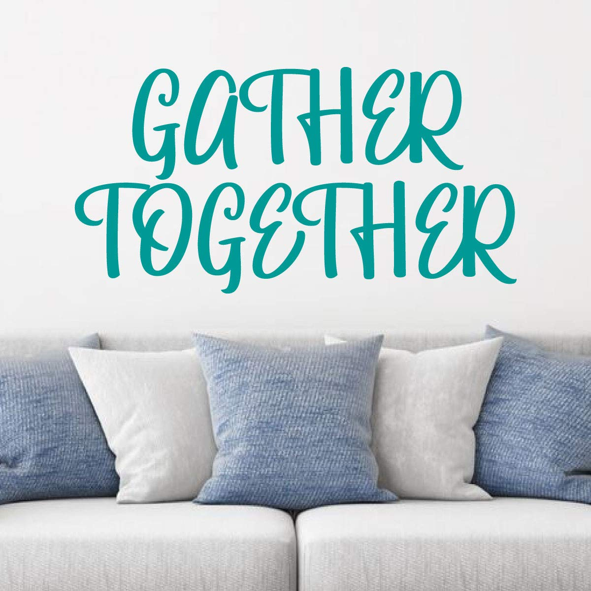 Bedroom or Home D/écor Family Wall Decal A Variety of Sizes and Colors Vinyl Art for Living Room /'Gather Together/'