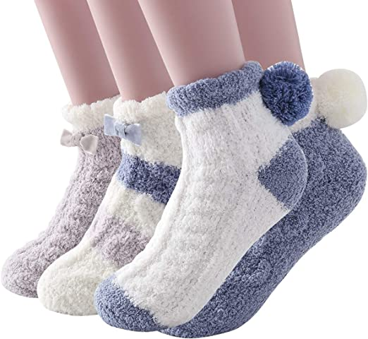 Socks 10 Pairs for Winter Home Non-Skid Cozy Fuzzy Soft dots Solid Slipper Socks 9-11