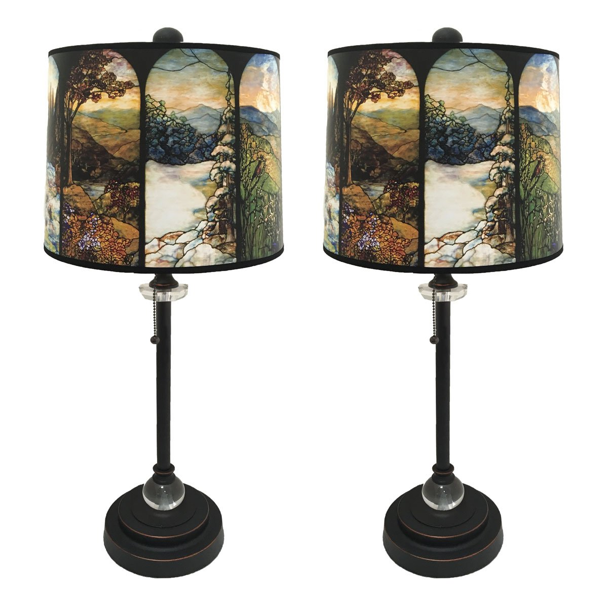 Royal Designs 28'' Crystal and Oil Rub Bronze Buffet Lamp with Four Seasons Stained Glass Design Hard Back Lamp Shade, Set of 2