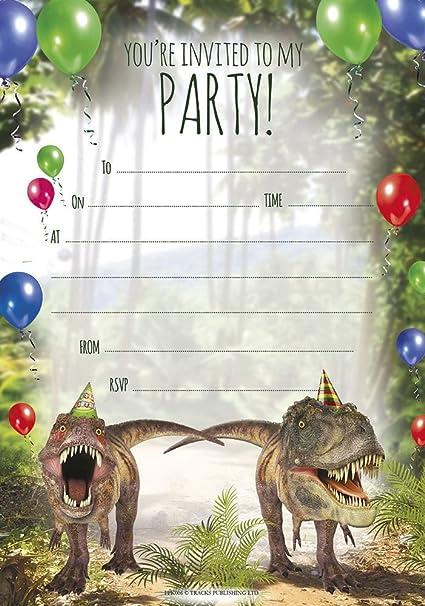 Amazon.com: Fiesta de cumpleaños Invitaciones dinosaurio ...