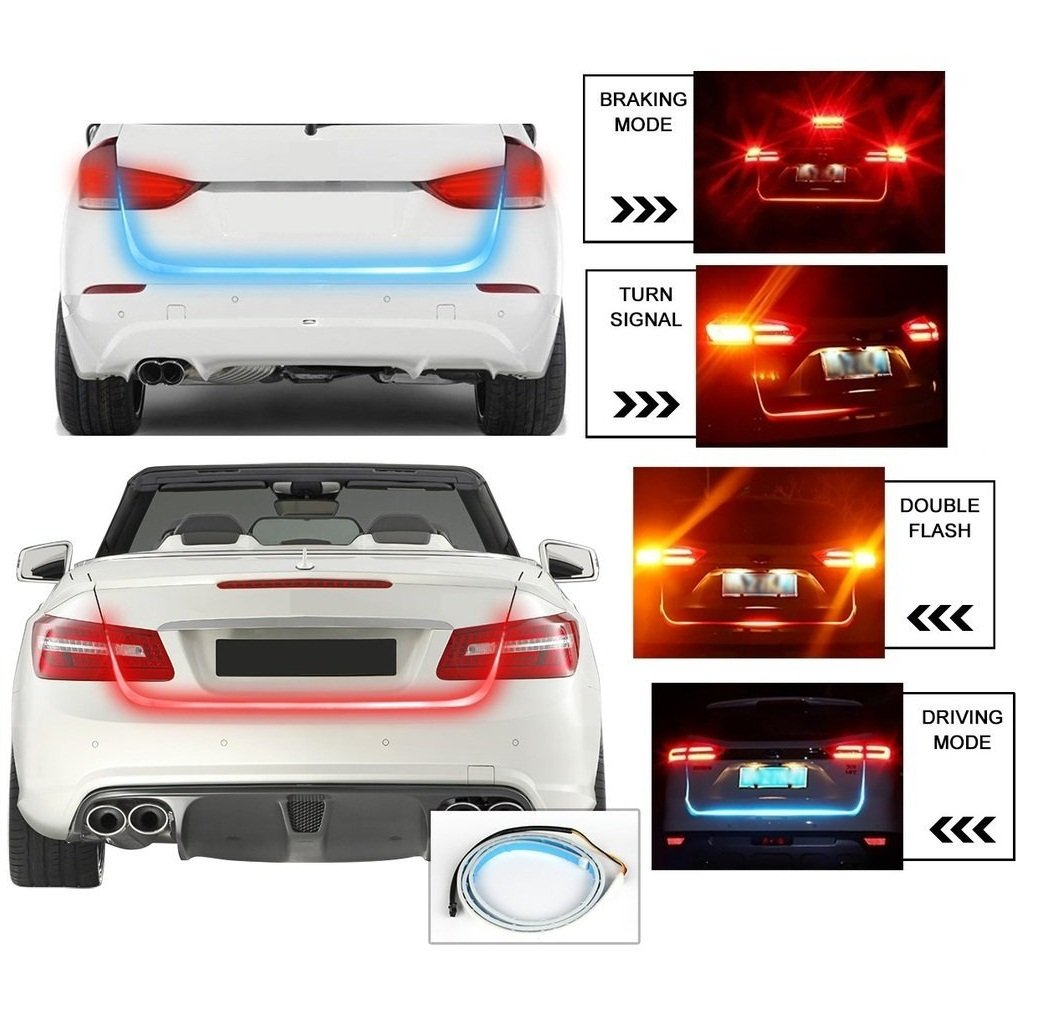 Car Tail Lights >> Motoway Car Tailgate Led Strip Light Car Rear Tail Lights Streamer Brake Turn Signal Led Lamp Strip Red And Blue Color