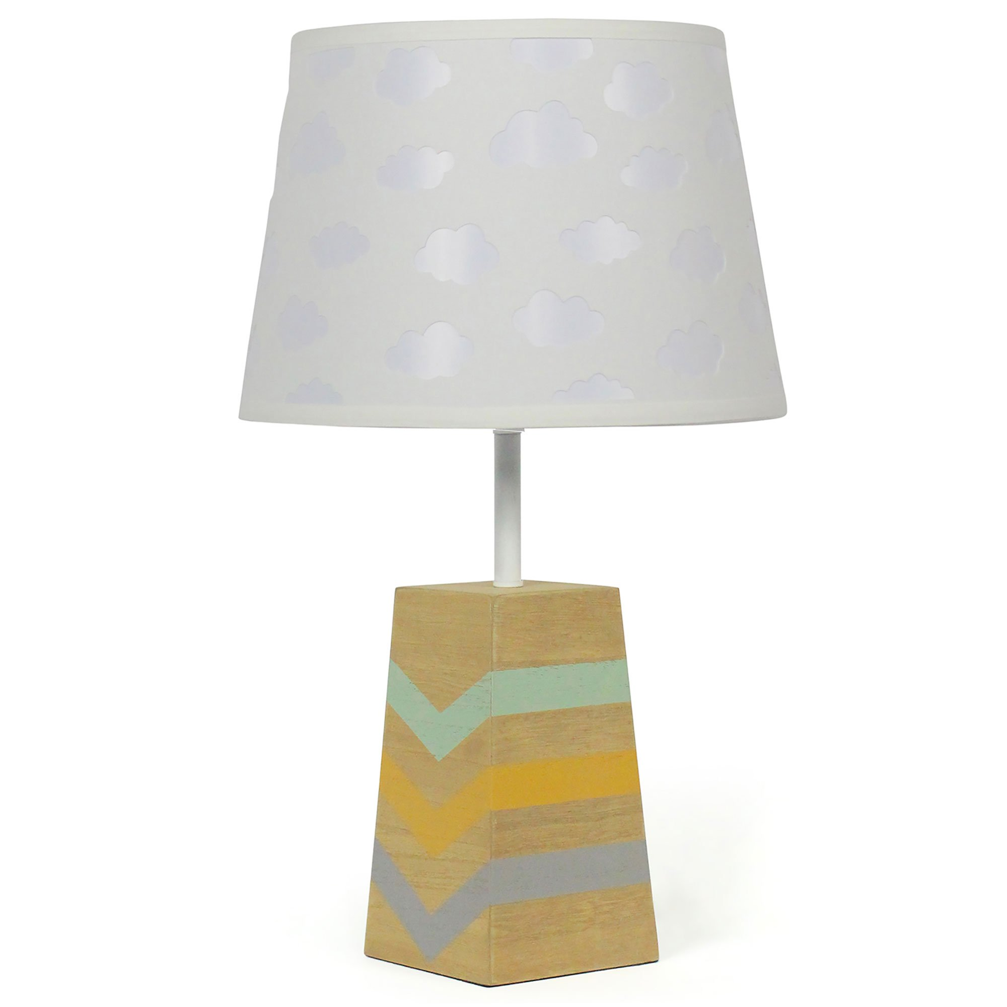 White Cloud Nursery Lamp Shade with Striped Wooden Base, CFL Bulb Included