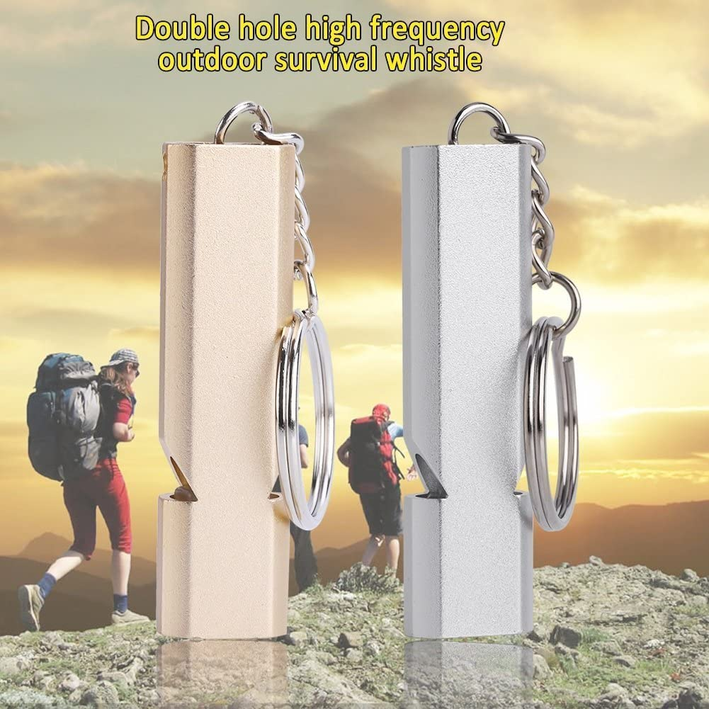Color : Gold Survival Emergency Whistle Double Holes High Frequency Aluminum Lifesaving Whistle With Keyring For Outdoor Hiking Camping Climbing