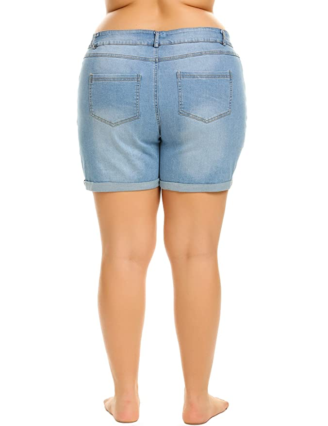 60959a1eba IN'VOLAND Women's Plus Size Denim Shorts Cuffed Short Jeans Pants at Amazon  Women's Clothing store: