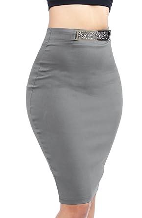 f0a9ea43f1 Women Classic Novelty Stylish Bodycon Stretch Knee Length Skirts Medium Grey-SWS2160  at Amazon Women's Clothing store: