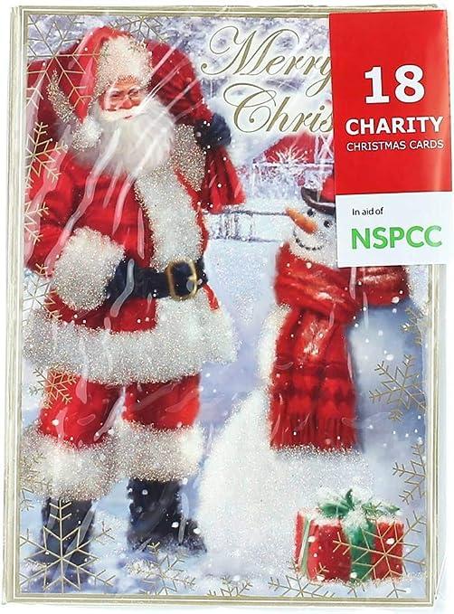 Pack de 10 tarjetas de Navidad, cuadrado – Cute Santa Claus, muñecos de nieve y los animales: Amazon.es: Hogar