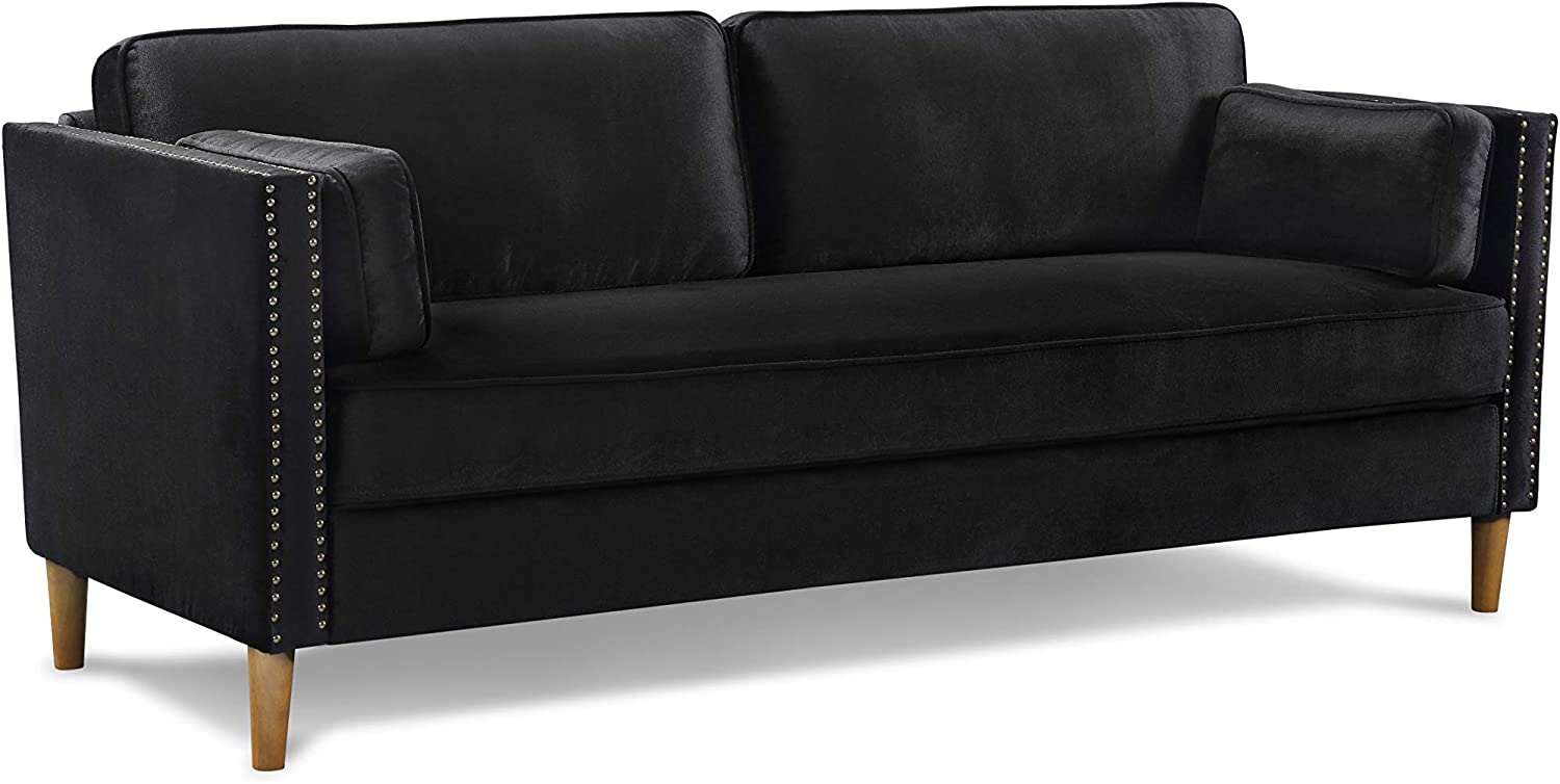 Black Sofa, Black Sofa for Living Room, Vktech 3-Seater Black Sofa, fits in Any Decoration Style, Solid and Durable, Great Home Furniture sectionals for Small Space