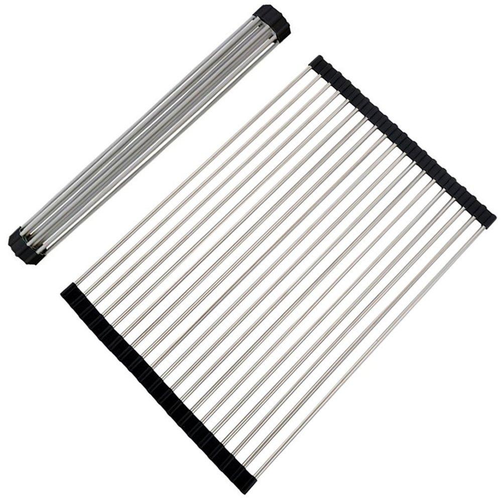 VAPSINT Roll Up Dish Drying Rack,Stainless Steel Brushed Nickel Folding Black