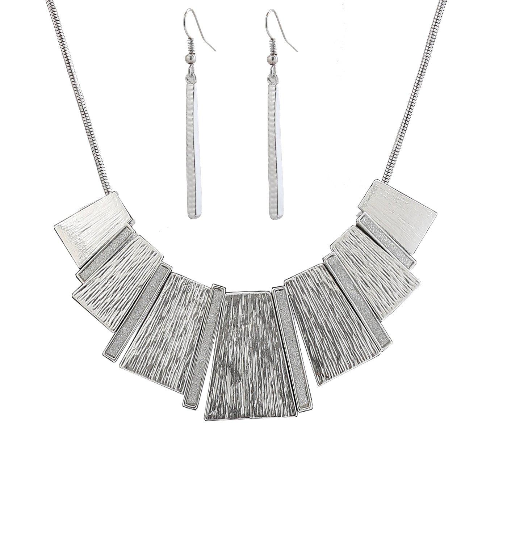 HSWE Statement Silver Bib Collar Necklace Tricolor Enamel Pendant Necklace Combo Earrings Charm Set (Silver)