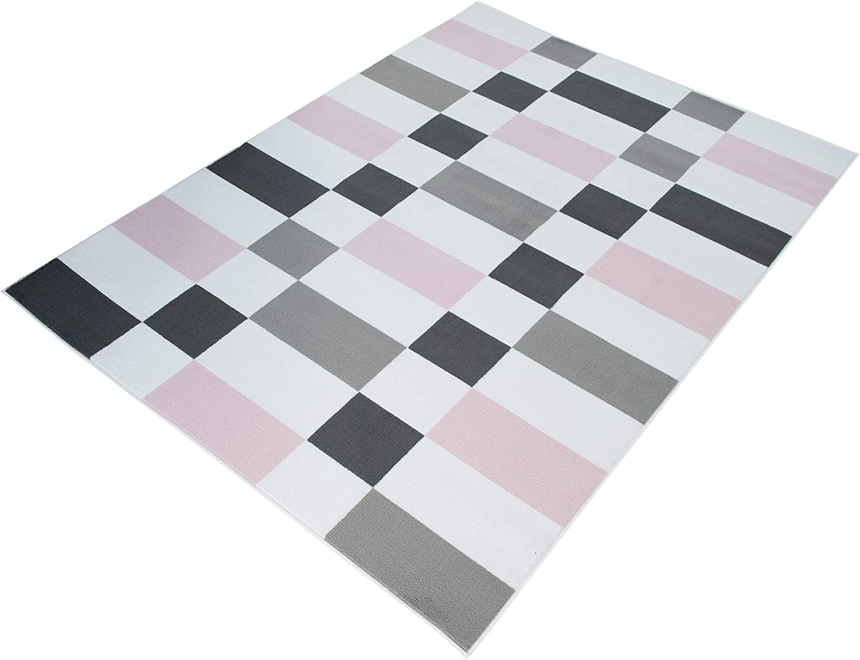 Tapiso Pinky Tapis de Chambre Enfant B/éb/é Ado Design Moderne Rose Gris Blanc Ours Jeu Doux Fin R/ésistant 80 x 150 cm