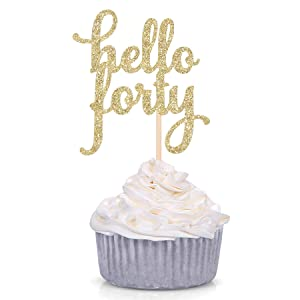 Set of 24 Gold Glitter Hello Forty Cupcake Toppers Age Decors 40th Birthday Celebrating Decors