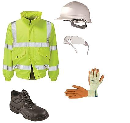 PPE Kit de seguridad, botas, casco, Hi Vis chaqueta, especificaciones, guantes