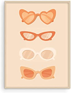 Haus and Hues Sunglasses Art Peach Aesthetic Wall Decor - Fashion Wall Decor and Boho Room Decor for Bedroom Aesthetic | Fashion Wall Poster for Room Aesthetic Photos UNFRAMED 12