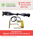 Dyson DC04, DC07, DC14, DC33 Belt Service Kit With Belt Changing Tool; Compare To Dyson Part # 904174-01, 05361-01-02, 02514-01-01, 10-10000-08, Designed & Engineered By Think Crucial