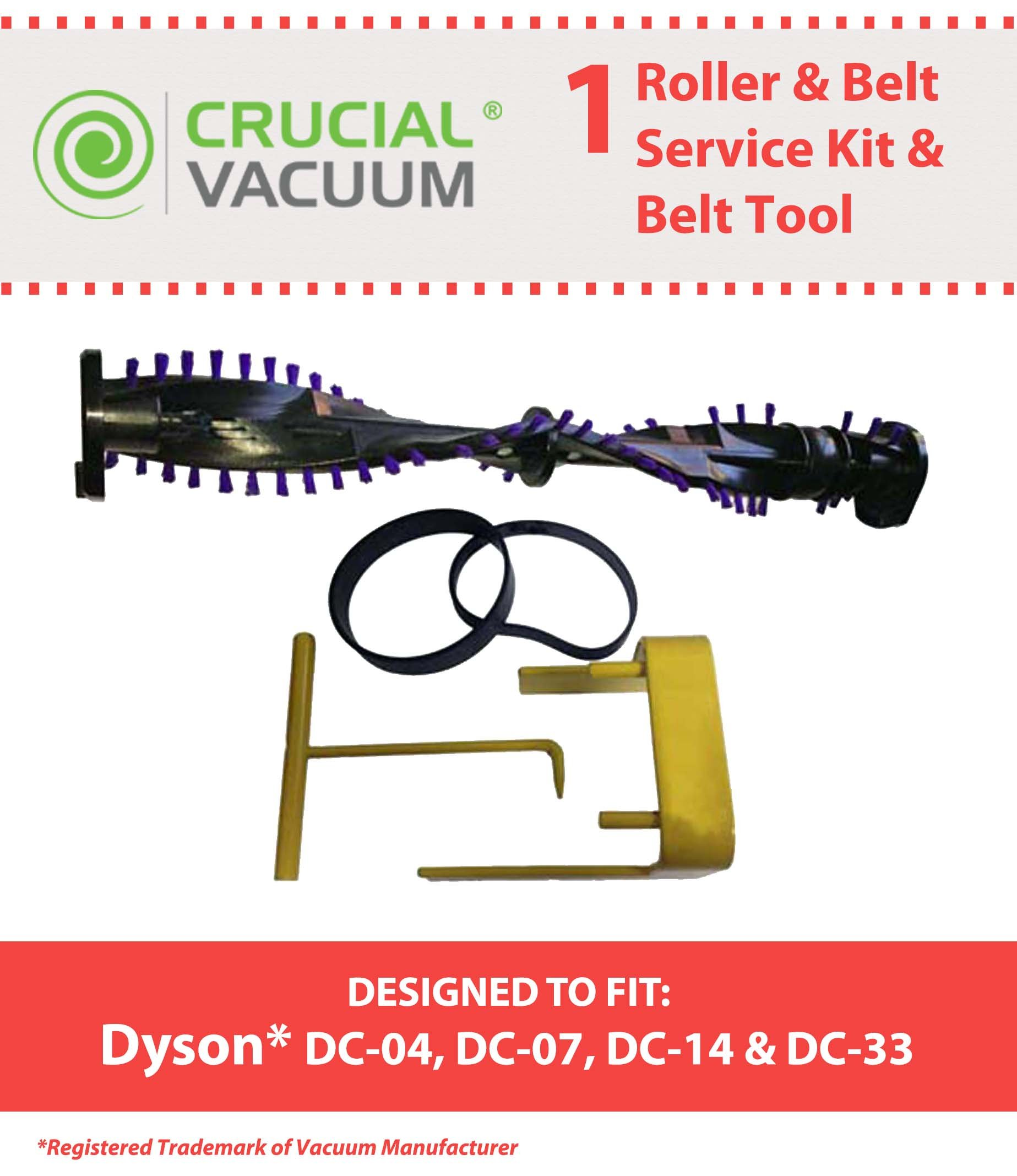 Think Crucial Replacement for Dyson DC04, DC07, DC14 & DC33 Roller, Belt Set & Change Tool, Compatible With Part # 904174-01, 05361-01-02, 02514-01-01 & 10-10000-08