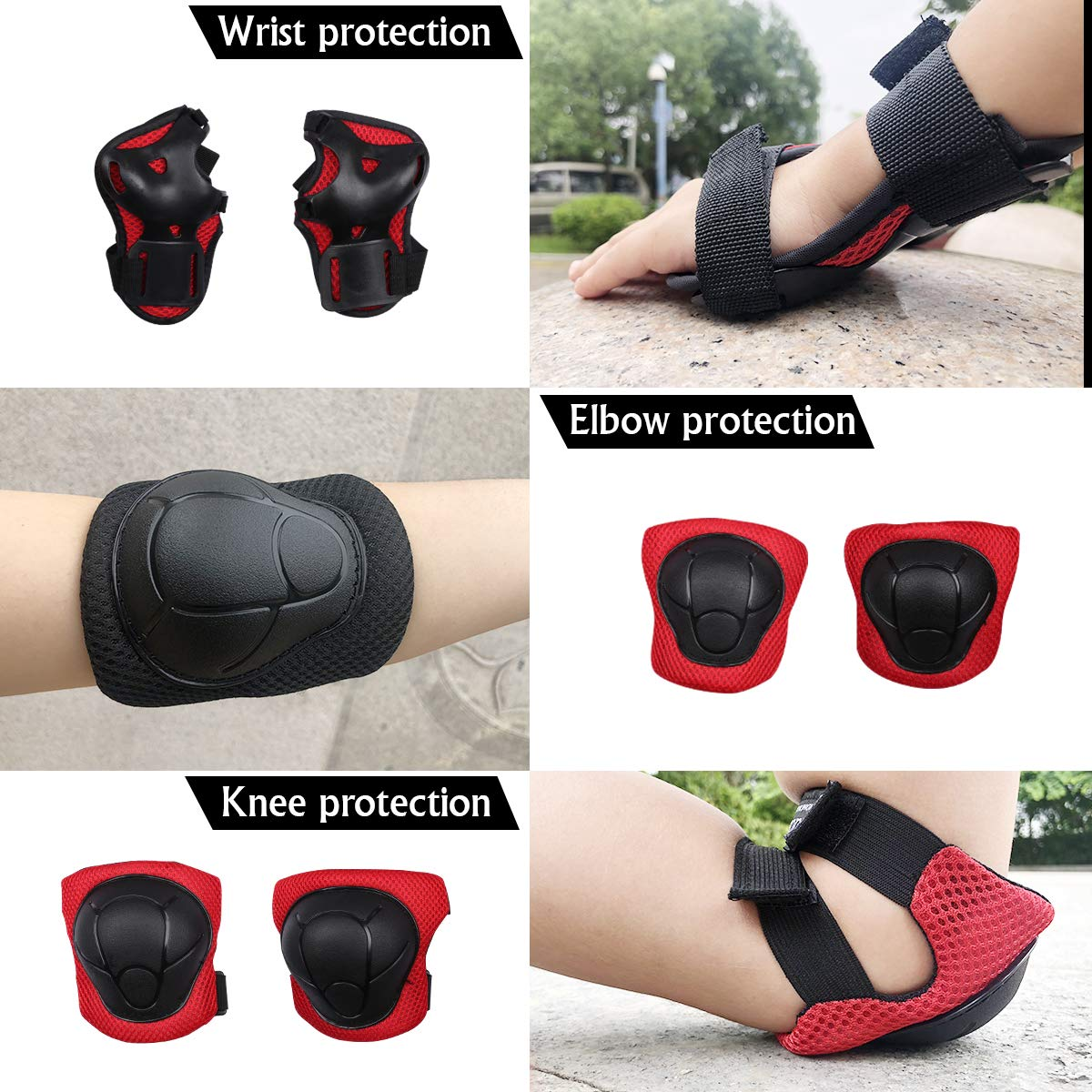 Bosoner Kids//Youth Knee Pad Elbow Pads Guards Protective Gear Set for Rollerblade Roller Skates Cycling BMX Bike Skateboard Inline Skatings Scooter Riding Sports