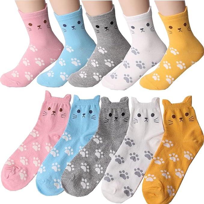 Calcetines Casuales de Gatos de Huella para Mujer Pack de 5 Metro: Amazon.es: Ropa y accesorios
