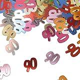 colorido confeti brillante con Número de Cumpleaños: 90 Bolsa con 15 g (Aprox. 1000 solo De confeti) Tabla De Decodificación Decodificación Aniversario Confeti de números Confeti De Dispersión De Confeti Metálico cumpleaños