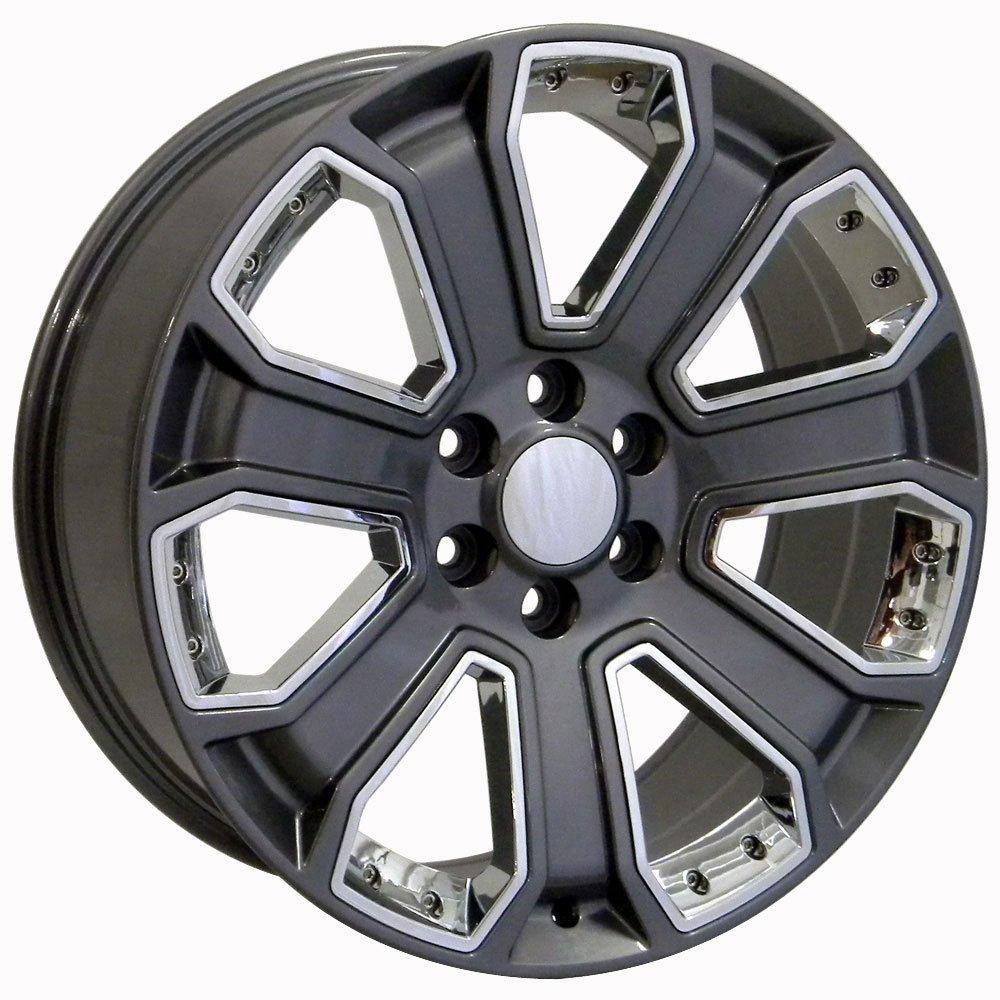 Amazon.com: Set of 20x8.5 Wheels Fit GM Trucks - Chevy Silverado Style  Gunmetal Rims w/Chrome Inserts: Automotive