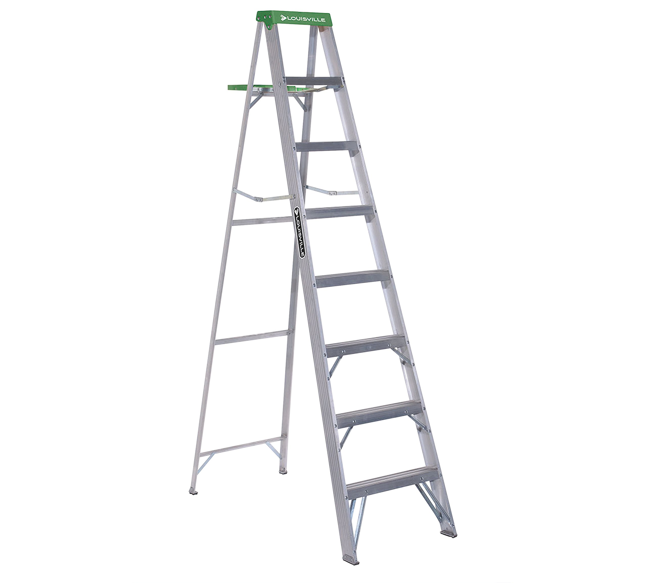 Lightweight Aluminum Molded Green Plastic Top 8ft Ladder by Louisville