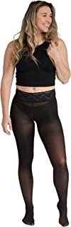product image for Semi-Opaque Black Fashion Tights | Comfort Stay Up Top | Seven Sizes- Plus Sizes