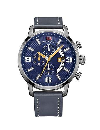 d6547ee440 Amazon | MINI FOCUS ブランド 腕時計 メンズ ブルー 青 防水 皮ベルト 人気 アナログ 高級 カジュアル 時計 | メンズ腕時計  | 腕時計 通販