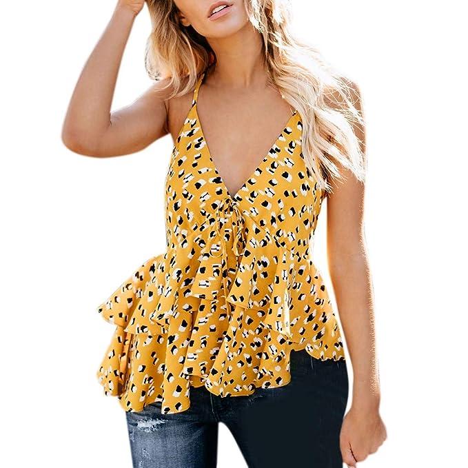 3da18c4ae DressLksnf Chaleco Moda de Mujer Original Blusa con Volante Casual ...