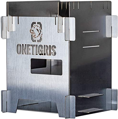 OneTigris ROCUBOID Wood Stove, Collapsible, 304 Stainless Steel, Weighs 18oz