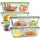 Glass Meal Prep Containers 3 Compartment Glass Lunch Containers with Lids Glass Food Storage Divided Containers for…