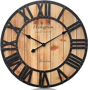 Westzytturm Extra Large Wall Clock Wood Rustic Farmhouse Vintage Oversized Decorative 3D Roman Numeral, Wall Clocks for Living Room,Kitchen,Office,Mantel(Orange 24 inch)