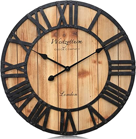 Amazon Com Westzytturm 24 Rustic Wall Clock Wood Large Roman Numerals Vintage Decorative Oversized Farmhouse Wall Clocks For Living Room Decor Dining Room Kitchen Office Mantel Orange 24 Inch Kitchen Dining